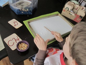 Salt tray and chopstick for cursive writing practice