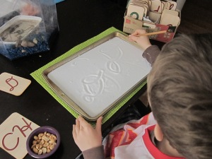 Salt tray for cursive writing practice
