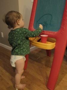 Pintar con agua en la pizarra