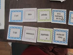 Singular Sentences in Spanish, grammar literacy center