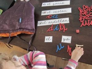 Letter game with the moveable alphabet