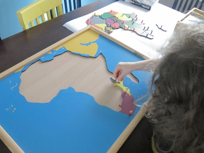 Montessori puzzle map of Africa