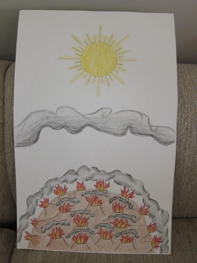 Los volcanes y las nubes   The volcanoes and the clouds Caos en la Tierra, con una espuma formándose, y los elementos calientes atrapados saliendo repentinamente Chaos on the newly formed earth, as a skin forms on the surface, and hot elements trapped inside burst out