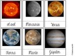 Tarjetas de tres partes Montessori planetas