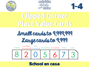 Clipped Corner Place Value Cards