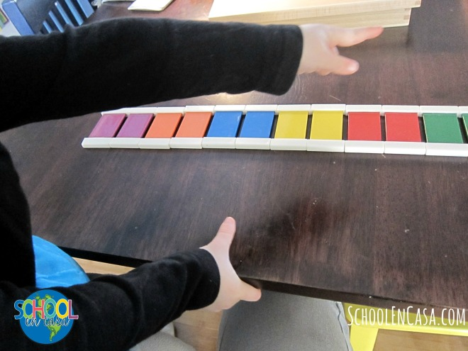 Tabillas de colores Montessori