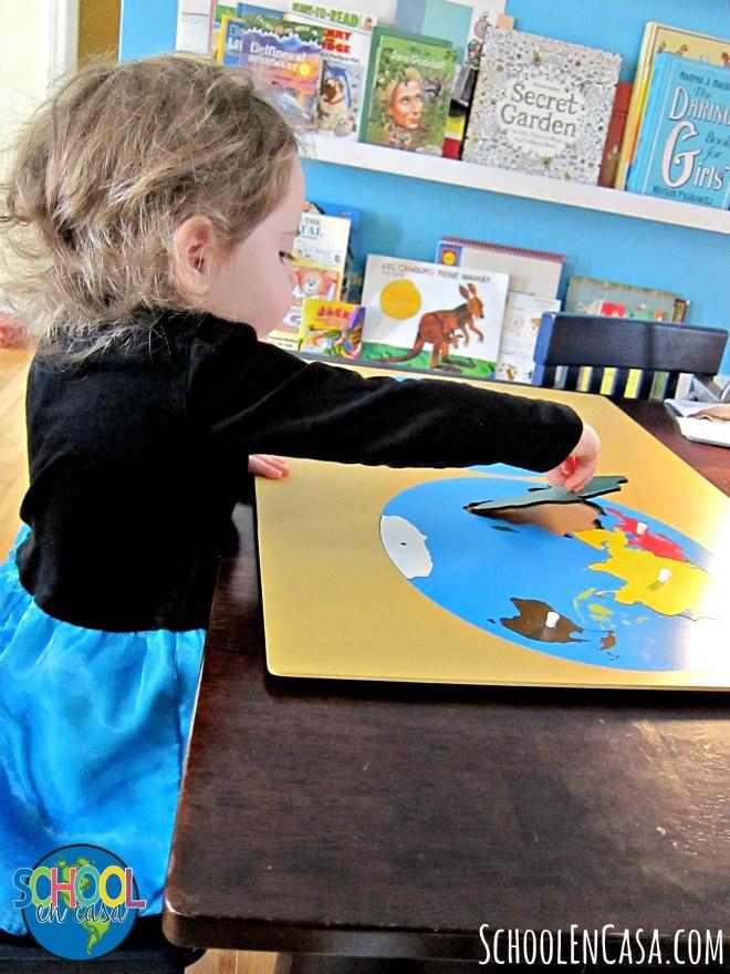 Mapa rompecabezas de los continentes | Montessori Continents Puzzle Map