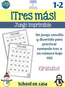 Tres más: Juego gratuito para trabajar las sumas dentro de 100