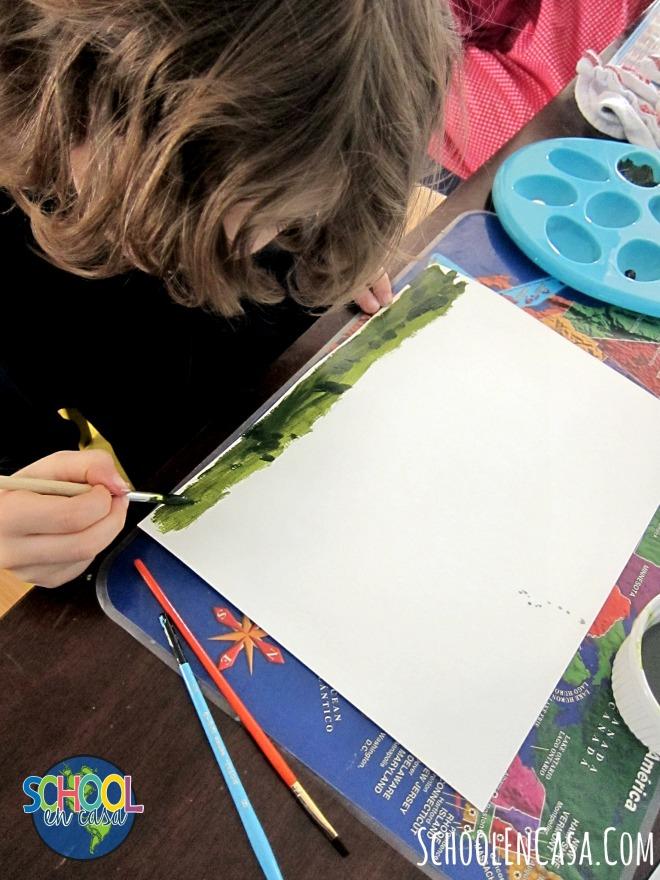 Arte de primaria mezclando colores