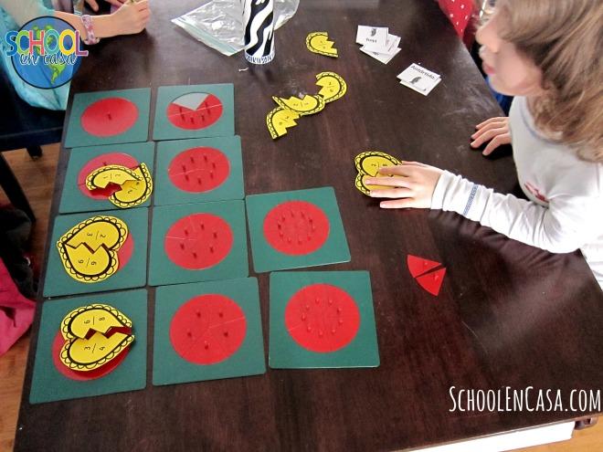 Fraccionarios con Montessori